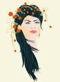 Mulher e flores, Imagens de Stock