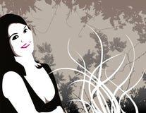 Mulher e flores ilustradas ilustração do vetor