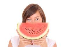 Mulher e frutas imagem de stock