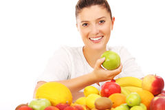 Mulher e frutas Foto de Stock