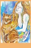 Mulher e gato, no.2 ilustração do vetor