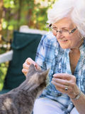 Mulher e gato superiores Fotos de Stock