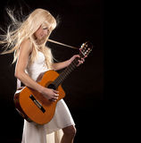 Mulher e guitarra Imagem de Stock Royalty Free