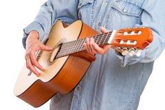 Mulher e guitarra da mão Foto de Stock Royalty Free