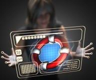Mulher e holograma com boia salva-vidas ilustração do vetor