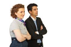 Mulher e homem de negócio que olham ao futuro Imagem de Stock Royalty Free