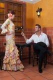 Mulher e homem durante Feria de abril em April Spain Fotos de Stock Royalty Free