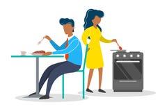 Mulher e homem na cozinha Cozimento do caráter fêmea ilustração royalty free