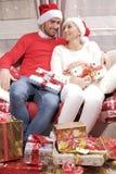 Mulher e homem no Natal Imagens de Stock