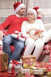 Mulher e homem no Natal Fotos de Stock Royalty Free