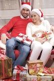 Mulher e homem no Natal Imagem de Stock Royalty Free