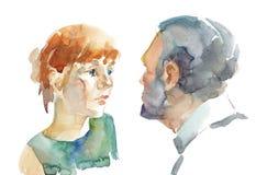 Mulher e homem no relacionamento Ilustração Stock