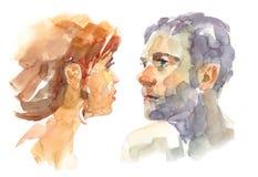 Mulher e homem no relacionamento Ilustração Royalty Free