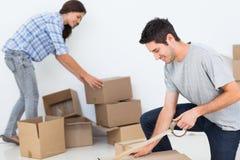 Mulher e homem que envolvem caixas Fotografia de Stock