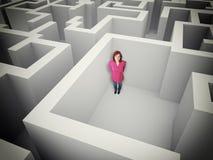 Mulher e labirinto Imagens de Stock