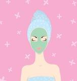 Mulher e máscara ilustração stock