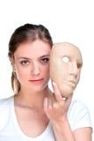 Mulher e máscara. imagem de stock