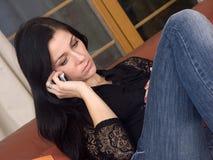 Mulher e móbil Imagem de Stock Royalty Free