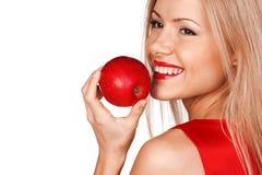Mulher e maçã vermelha Imagem de Stock