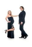 Mulher e marido grávidos da forma no estilo do gangsta Imagens de Stock