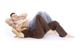 A mulher e o homem treinam junto Fotografia de Stock Royalty Free