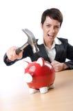 Mulher e piggybank Imagens de Stock