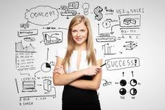 Mulher e plano de negócios Fotografia de Stock Royalty Free