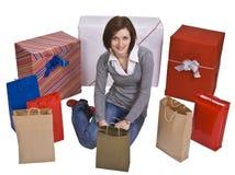 Mulher e presentes Fotografia de Stock