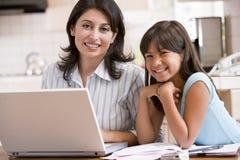 Mulher e rapariga na cozinha com portátil Fotografia de Stock