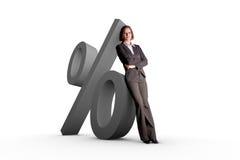 Mulher e símbolo dos por cento Fotos de Stock Royalty Free