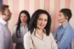 Mulher e trabalhos de equipa do serviço de atenção a o cliente da beleza Fotografia de Stock