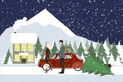 A mulher e um homem vão com presentes a uma casa de campo Imagem de Stock Royalty Free