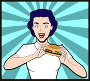 mulher e uma banda desenhada do pop art do hamburguer Imagens de Stock Royalty Free