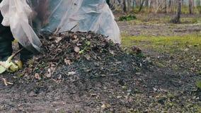 A mulher e uma criança limpam as folhas velhas secas no jardim filme