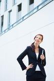 Mulher e universidade felizes de negócio imagens de stock