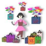Mulher e venda 50% dos sacos, um disconto de 50 por cento Foto de Stock