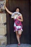 Mulher e ventilador Foto de Stock Royalty Free
