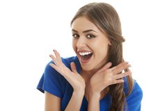 Mulher ectática surpreendida Fotos de Stock Royalty Free