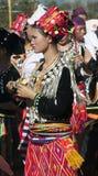 Mulher elaborada vestida de Jingpo Foto de Stock Royalty Free