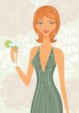 Mulher elegante bonita com cocktail Imagens de Stock
