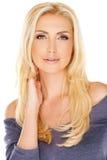 Mulher elegante com cabelo louro longo foto de stock royalty free