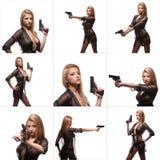 Mulher elegante elegante da colagem com uma arma nas mãos Imagens de Stock Royalty Free