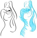 Mulher elegante estilizado isolada Imagens de Stock Royalty Free