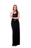 Mulher elegante no preto Fotografia de Stock