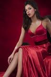 Mulher elegante no vestido vermelho Foto de Stock