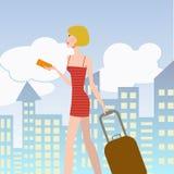 Mulher elegante nova com mala de viagem Fotografia de Stock