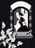 Mulher elegante que olha fora de sua janela ilustração stock