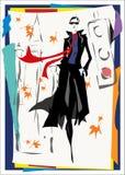 A mulher elegante vai abaixo da rua Imagem de Stock Royalty Free