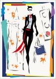 A mulher elegante vai abaixo da rua Fotos de Stock Royalty Free