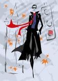 A mulher elegante vai abaixo da rua, queda, Imagens de Stock Royalty Free
